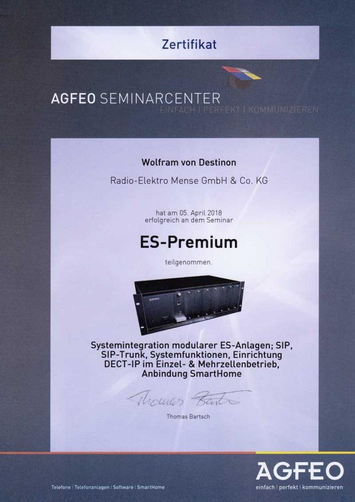 Zertifikat AGFEO-Seminar